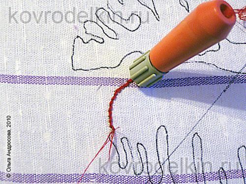 При изготовлении ковровой