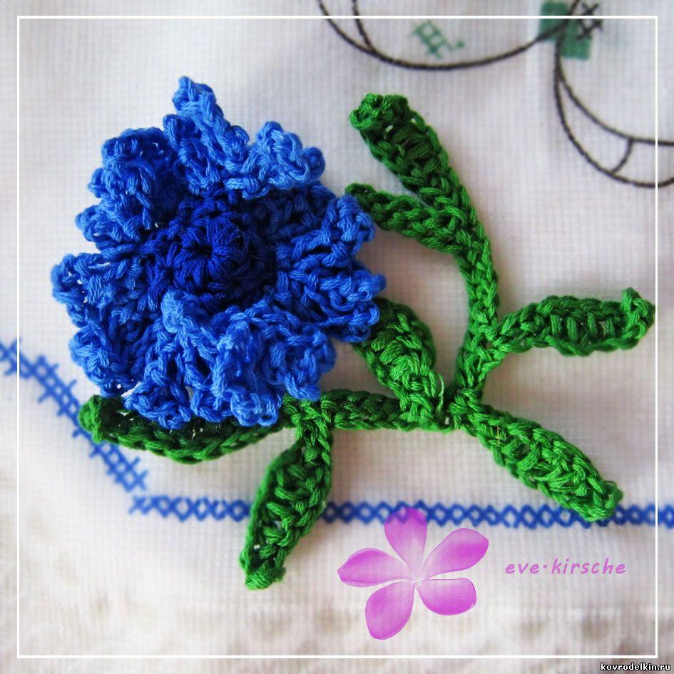 василек крючком, вязание крючком, цветы крючком