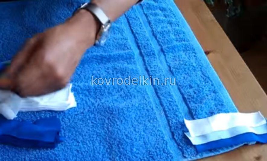 Как сделать коврик в ванную из полотенец 931