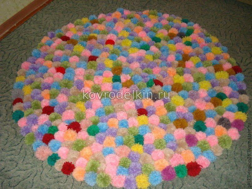 Фото ковриков из помпонов своими руками