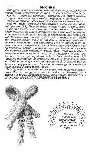 Схема вязания вьюнков