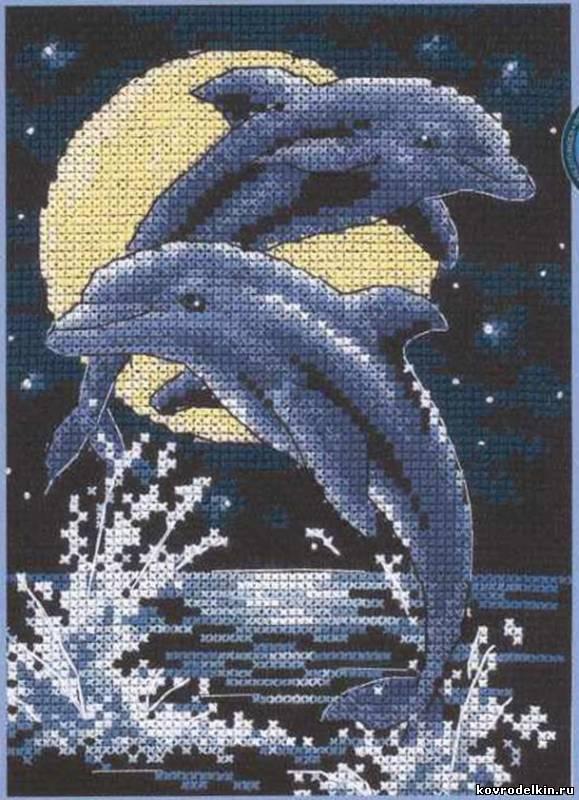Вышивка дельфинов скачать схемы