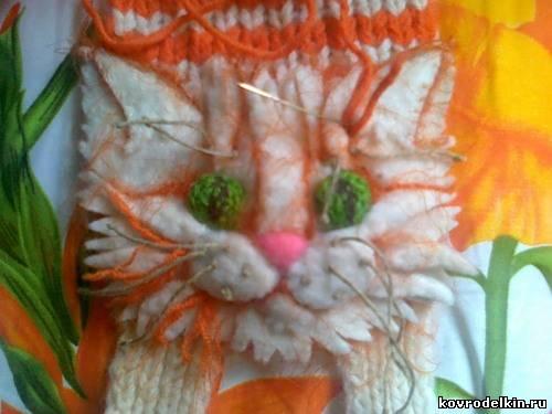 шарф, вязание спицами, кот