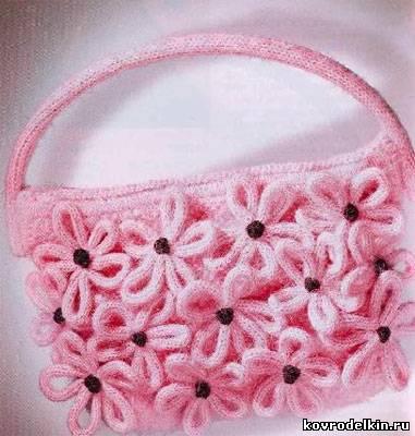 сумочка, вязаная сумочка, вязание спицами, вязание крючком
