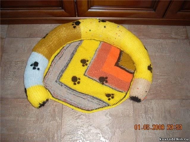 коврик для кошки, вязание спицами