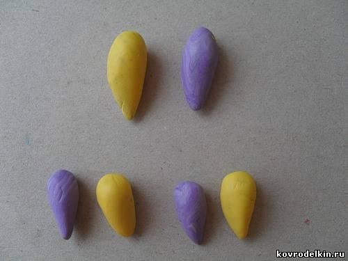 полимерная глина, анютины глазки, лепка