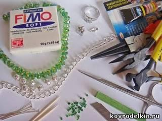 лепка, полимерная глина, браслет, бусины, цветы