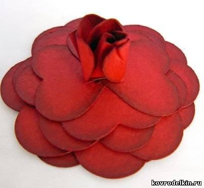розы из бумаги, украшение для открыток
