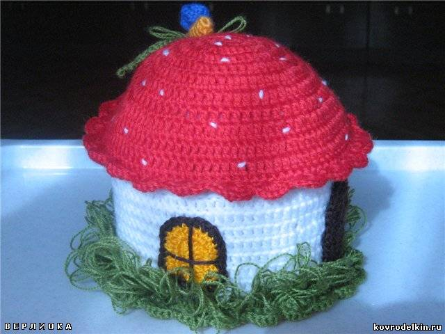 домик-гриб, шкатулка, вязание
