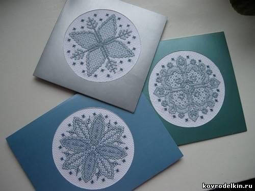 открытка, картон, вышивка
