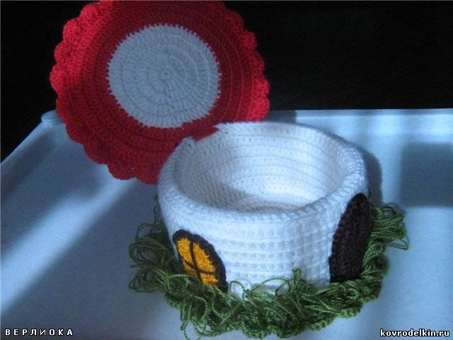 домик-гриб, шкатулка, вязание крючком