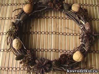рождественский венок, природный материал, флористика, новый год