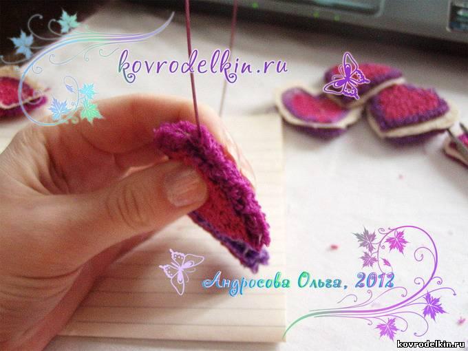 ковровая вышивка, мягкие сердечки, техника продергивания, как вышивать ковровой иглой