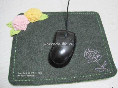 коврик для мышки, коврик из фетра, цветы из фетра,