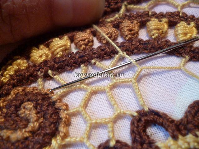 как выполнять нерегулярную сетку при вязании ирландским кружевом в